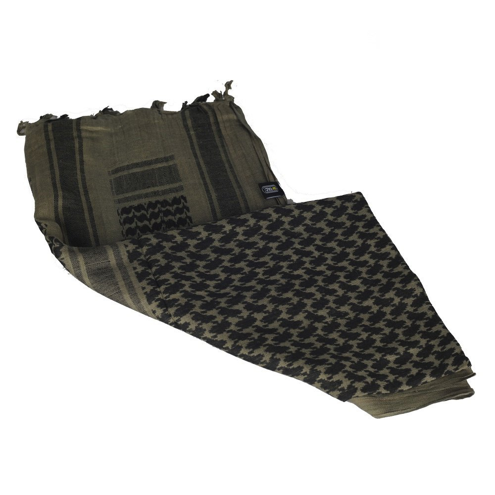 M-Tac Shemagh Tactical Desert Head Neck Scarf Men Military Army Cotton Wrap (Foliage Green - Black)