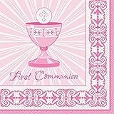 Cruz Rosa Radiante Primera Comunión Party Servilletas, 16ct