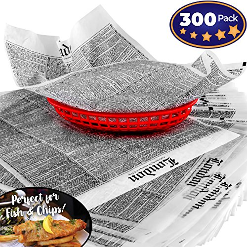 Paper Plate Fish - Avant Grub Deli Paper 300 Sheets. Turn Your Backyard Fish Fry Party into a British Pub with Newsprint Food Wrapping Papers. Wax Coated 12x16 Basket Liners Prevent Food Stains!