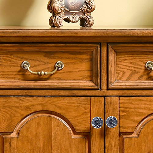 Crystal Glass Cabinet Knobs - LONGWIN 10pcs 30mm crystal Dresser Cupboard Drawer handles (Gold) by LONGWIN (Image #4)