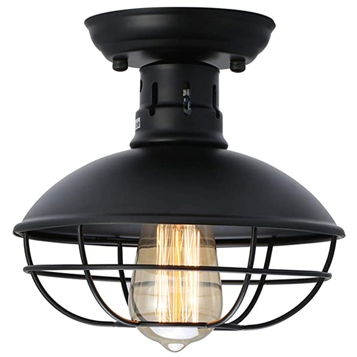 KingSo Industrial Metal Cage Ceiling Light, E26 Rustic Mini Semi Flush Mounted Pendant Lighting Dome/Bowl Shaped Lamp Fixture Farmhouse Style for Foyer Kitchen Garage Porch Entryway