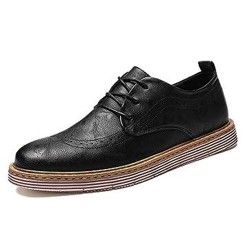 HILOTU Zapatos clásicos para Hombre de Negocios Oxford Casual Otoño Invierno Corbata Brogue Brogue con Parte