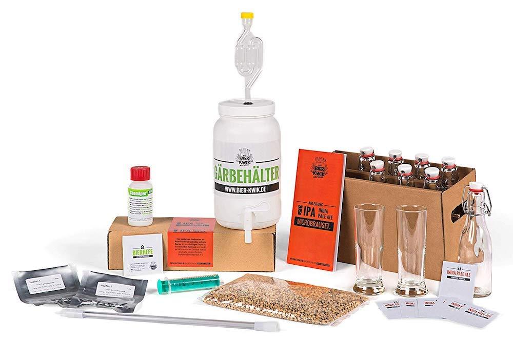 Geschenkbox Bier Kwik Microbrauset IPA - India Pale Ale - Bier selber brauen in der All-in-one Kü chenmaschine -Komplettes Bierbrauset Geschenkbox GmbH
