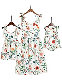 Mommy and Me Floral Printed Shoulder-Straps Bowknot Halter Chiffon Beach Mini Sundress