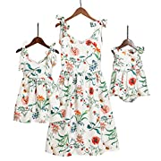 PopReal Mommy and Me Floral Printed Sleeveless Bowknot Chiffon Beach Romper Family Match Dress