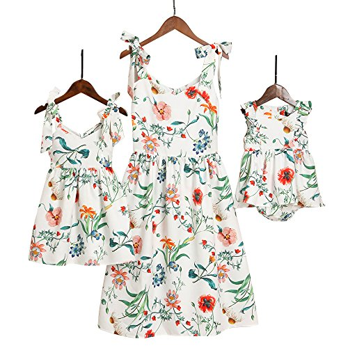PopReal Mommy and Me Floral Printed Sleeveless Bowknot Chiffon Beach Romper Family Match Dress,White,baby-9-12months
