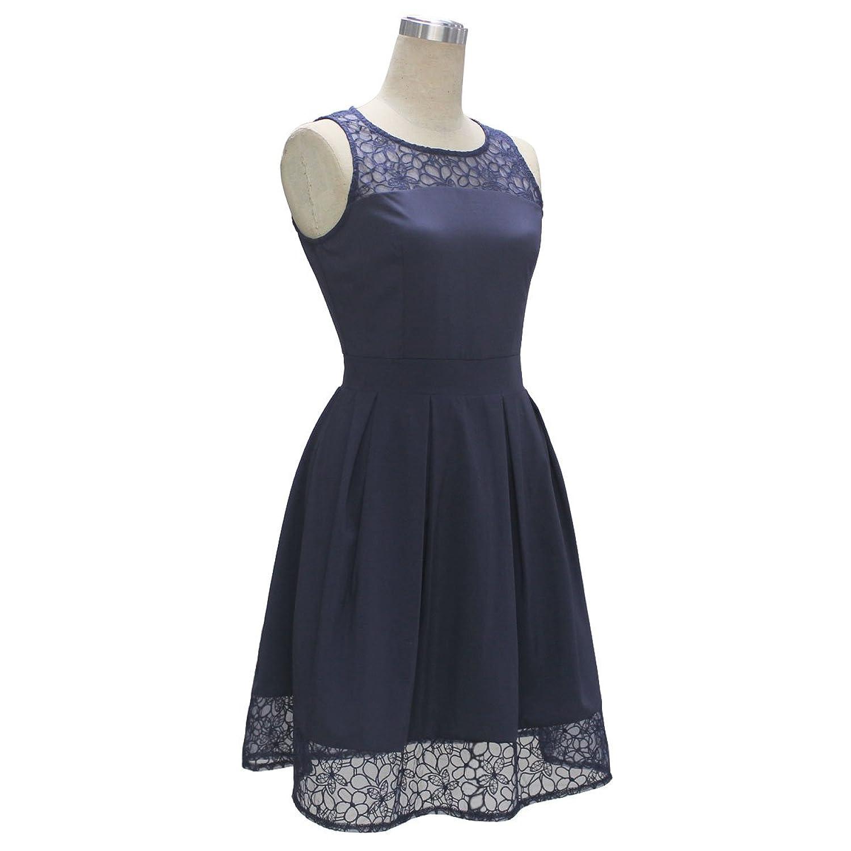 ECOWISH Damen Kleid Sommerkleid Freizeitkleid Cocktailkleid Lace ...