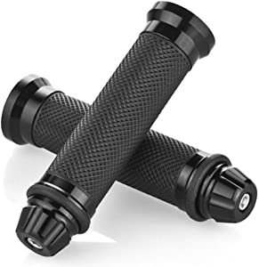 "Nuoxinus Motorcycle Hand Grips with Bar End Cap, Racing CNC Aluminum & Soft Rubber Handlebar Universal for 7/8""(22mm) Handle Bar (Black)"