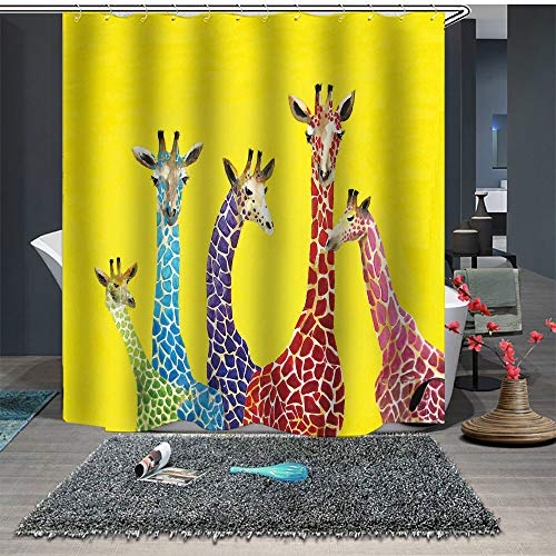 Shower Curtain Set with Hooks Soap Mildew Resistant Waterproof Vivid Colorful Giraffes Red Pink Blue Purple Bathroom Decor Machine Washable Antibacterial Polyester Fabric Bath Curtain 71 x 71 - Soap Giraffe