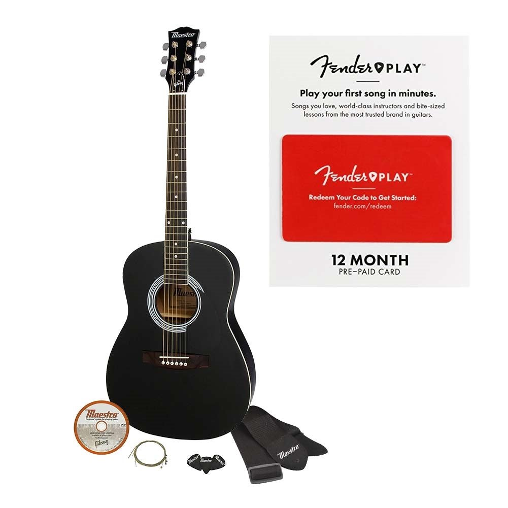 Maestro by Gibson Parlor Size Acoustic Guitar Starter Pack, Black MA38EBCH1