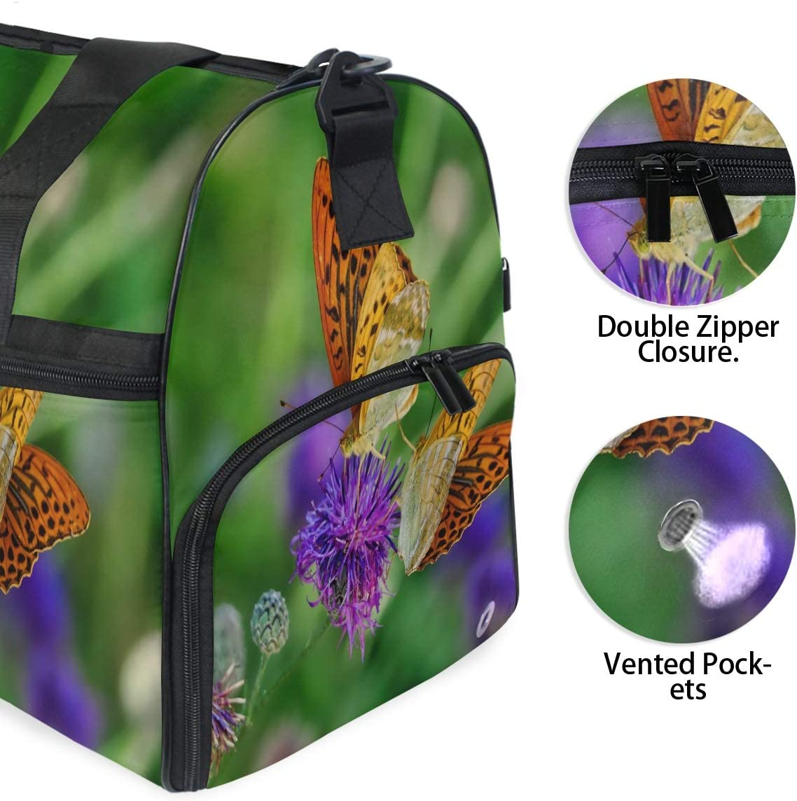 MUOOUM Purple Flower And Butterfly Large Duffle Bags Sports Gym Bag with Shoes Compartment for Men and Women