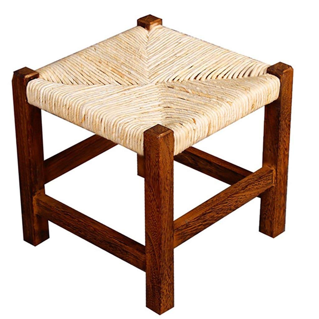Ajhgqejfw Available Places Solid Wood Square Stool Household Stool Corn Leather Woven Stool Low Stool Changing Shoe Bench Bench Coffee Table Stool 25x25x25cm spot (Color : -, Size : -)
