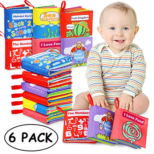 Cloth Books Baby, 6 Set My First Non-Toxic Soft Clothing Book Educational Toys Gifts for 1 Year Old Babies Infants Toddlers Touch and Feel Activity
