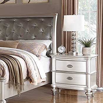 Traditional Formal Look Silver Magical Bedroom Furniture Accent Tufted HB Eastern King Size Bed Royal Dresser Mirror Nightstand 4pc Set