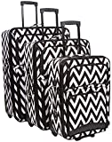 Ever Moda Black Chevron 3-Piece Luggage Set (Black)