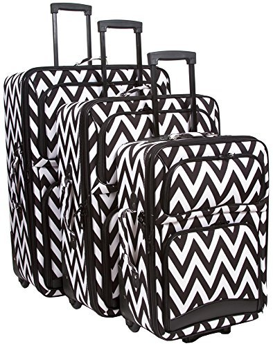 Ever Moda Black Chevron 3-Piece Luggage Set (Black) by Ever Moda