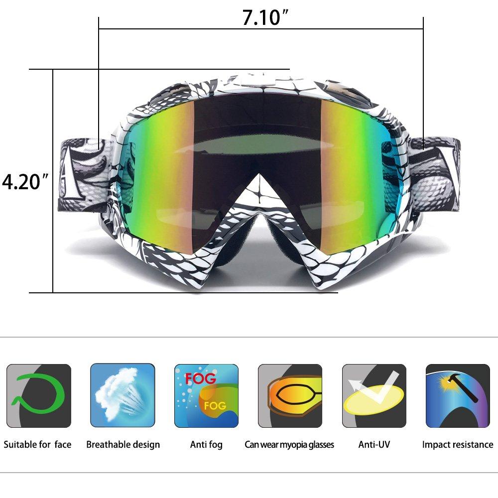 Zdatt Bendable Snow Skiing Snowboarding Goggles,Unisex Motocross Sports Snowmobile Snowboard Ski Goggles Anti Fog Dust UV, Dustproof Scratch-Resistant by ZDATT (Image #3)