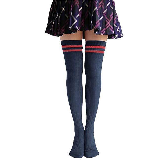 Hishiny calcetines hasta la rodilla over knee calcetines mujeres Raya sobre la rodilla calcetines hasta la