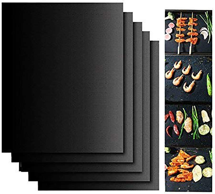 NiceOne Grill Set,100 Non-Stick BBQ Grill Baking Mats, Black