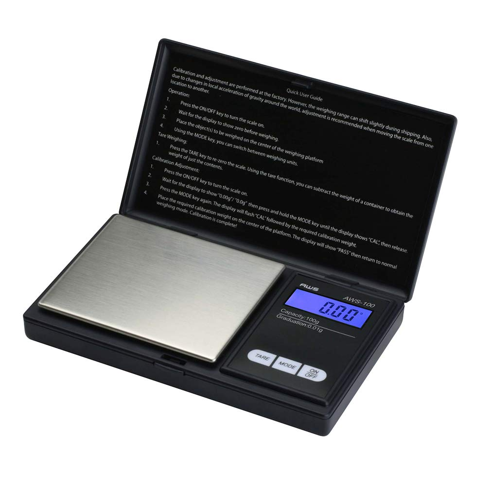 American Weigh Scale AWS-100 Digital Pocket Scale, 100g X 0.01g Resolution by AMERICAN WEIGH SCALES