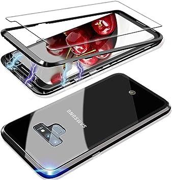 Funda Sumsung Galaxy Note 8, Magnética Absorción Technology Marco de Metal Clear Tempered Glass Back Caso,Carcasa de Peso Ligero, para Sumsung Galaxy Note 8 Cover Case[Negro][+Cristal Templado]: Amazon.es: Electrónica