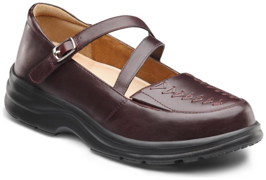 Dr. Comfort Women's Betsy Burgundy Diabetic Mary Jane Shoes