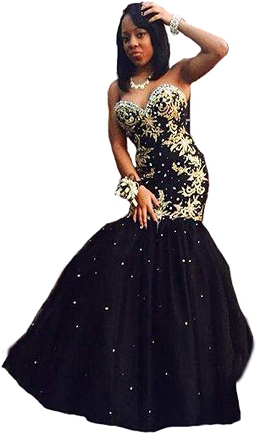 Gold Appliques Long Prom Dress Mermaid