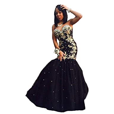 Fair Lady Gold Appliques Long Prom Dress 2017 Crystal Sweet Black Evening Gowns Pageant Dresses