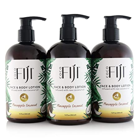 Coco Fiji Coconut Oil Infused Face Body Lotion, Pineapple Coconut 12 Ounce Pack of 3