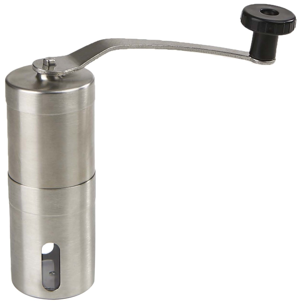Mind Reader Manual Coffee Grinder, Conical Burr Mill, Brushed Stainless Steel