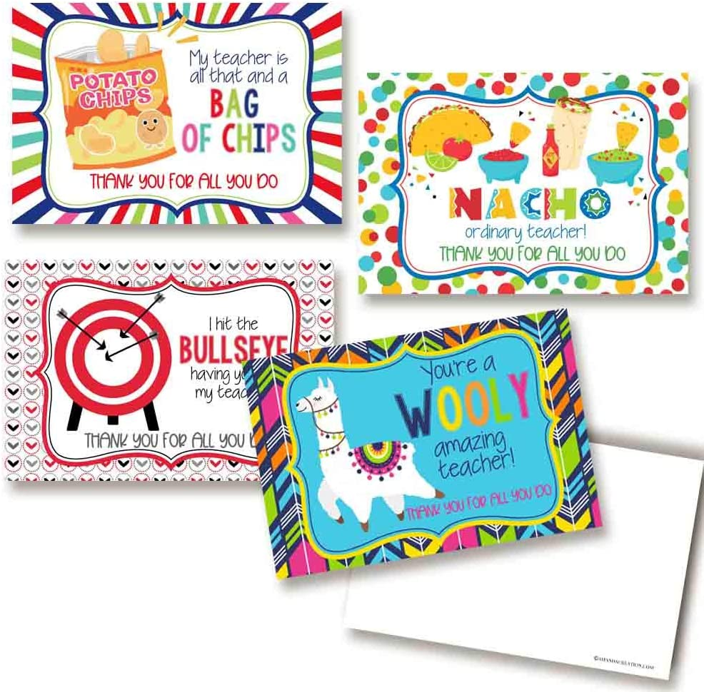 Silly Food & Animal Jokes Teacher Appreciation Themed Blank Postcards To Send To Your Child's Teachers, 4