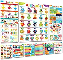 """Sproutbrite Educational Posters & Classroom Decorations Preschool - 11 - 20""""x14"""" Early Learning Charts for Toddlers,..."""