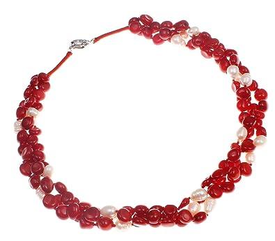 TreasureBay Three Strands 6mm Pink Coral Beaded Women's Bracelet - Presented in a Beautiful jewellery Gift Box Tx9dtIk