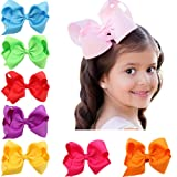 "4.5"" Solid Baby Girls Clip Hair Bows Large Set Of 16 Color"