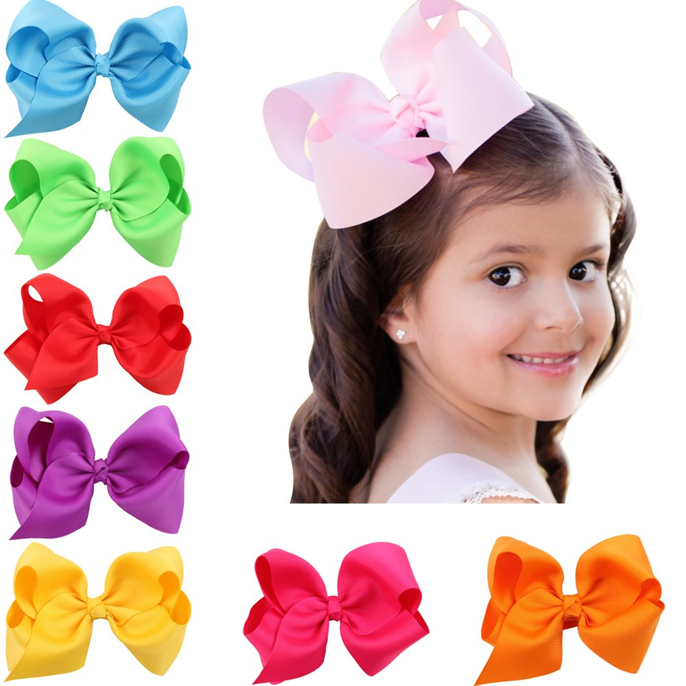 AmazingGifts4U Grosgrain Ribbon 6 Inch Boutique Hair Bows Tough & Cute for Babies, Teen Kids and Girls 20 Pack by AmazingGifts4U