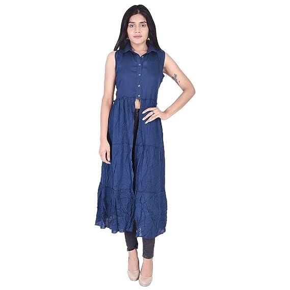 ec95eadc9d6 SmisingBee Women's Solid Rayon Ankle Length Dress(Blue): Amazon.in ...