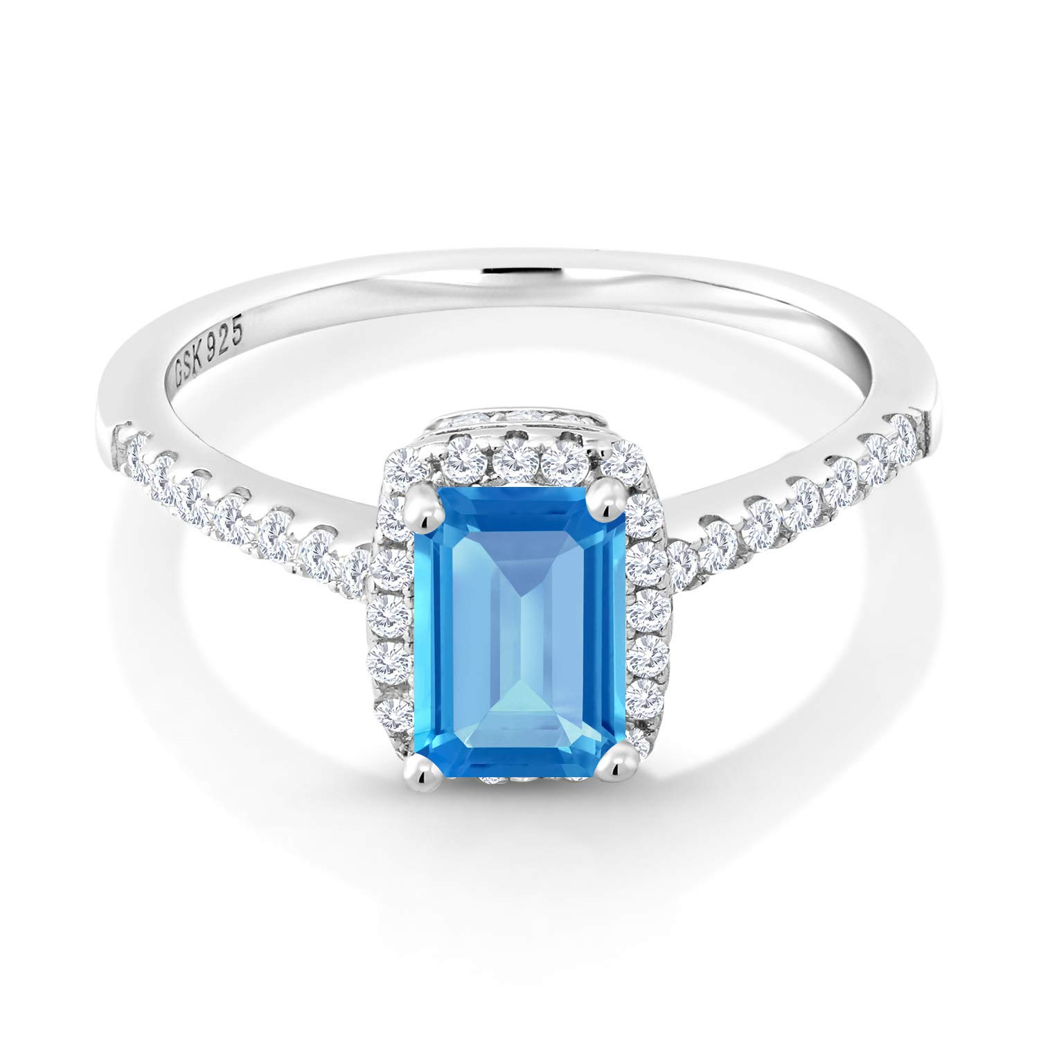 Gem Stone King 1.41 Ct Swiss Blue Topaz White Created Sapphire 925 Sterling Silver Ring