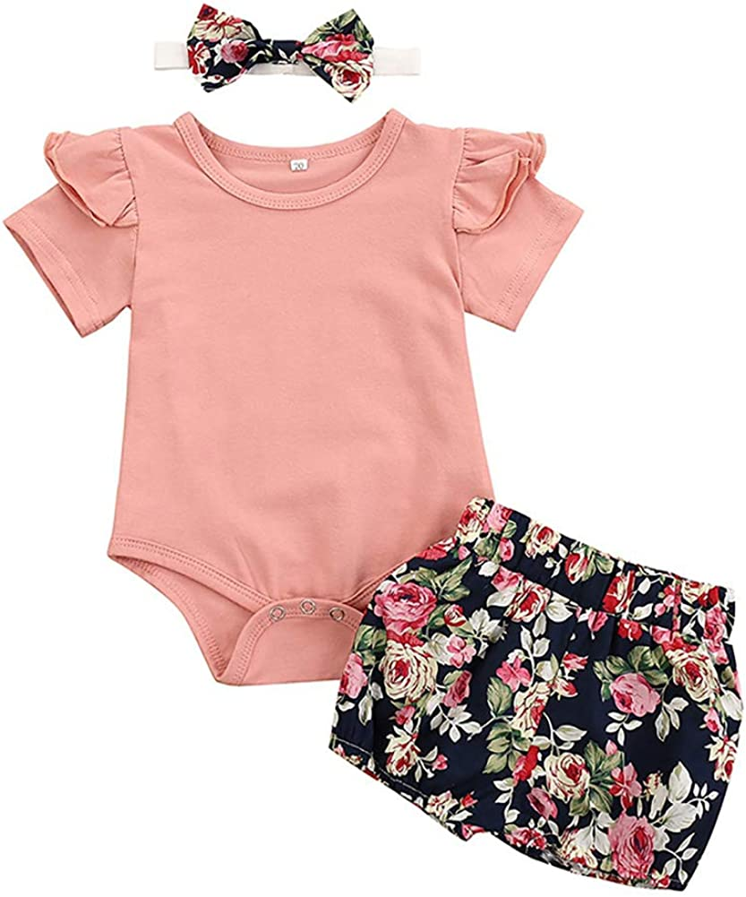 Miyanuby Neugeborene Baby M/ädchen Kleidung Set Blumen Strampler Spielanzug Bodys Hosen Shorts Kleidungsset mit Stirnband