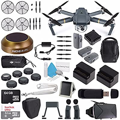 DJI Mavic Pro (Fly More Combo) CP.PT.000642 + DJI Power Bank Adapter for Mavic Intelligent Flight Battery CP.PT.000558 + DJI Propeller Cage for Mavic Pro Quadcopter CP.PT.000592 Bundle