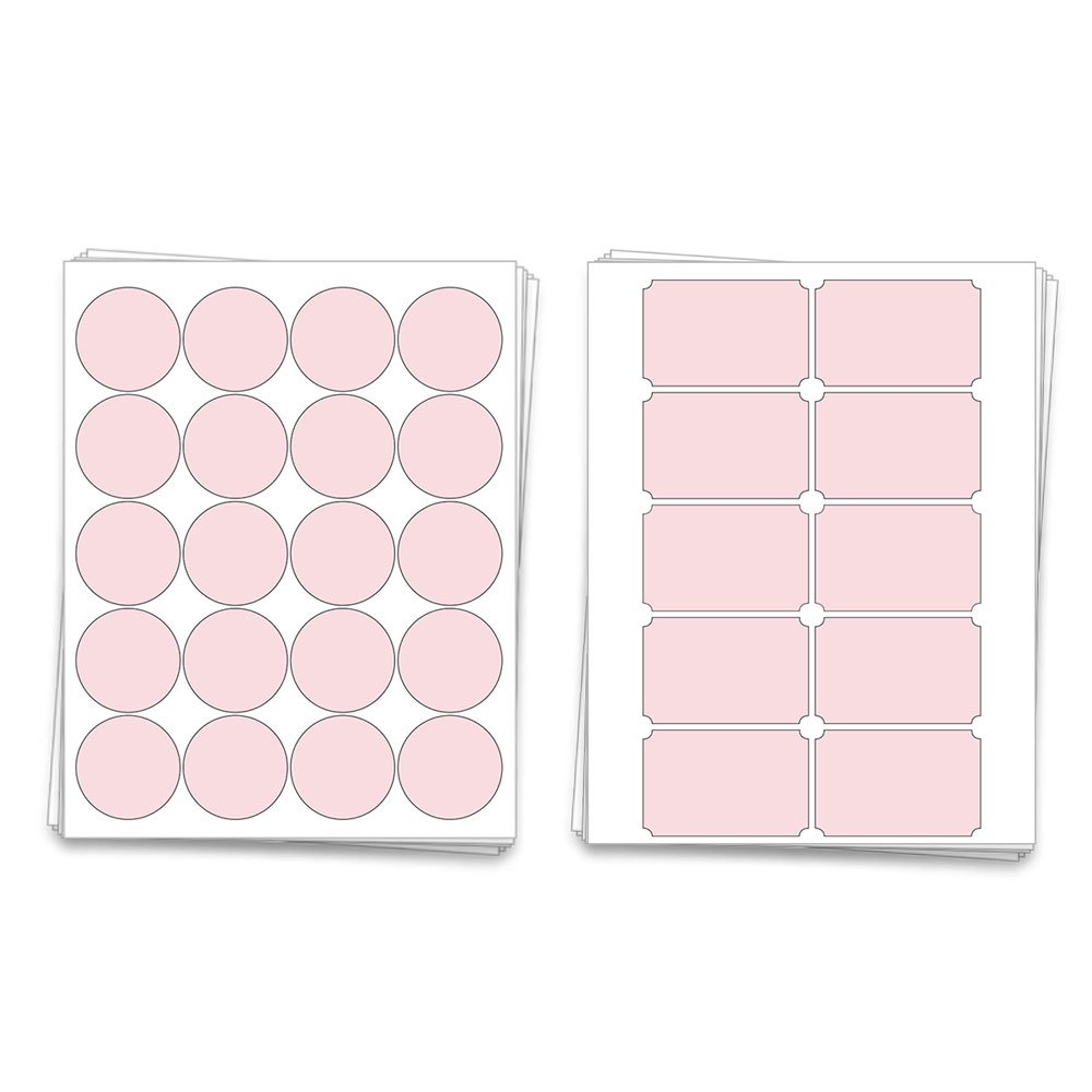 Printable Blank Mason Jar Labels for 40 Jars and Lids, Pastel Pink, for  Inkjet and Laser Printers
