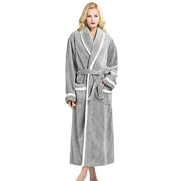 Bata Gris para Mujer Bata De Baño para Damas Invierno Cálido Paño Grueso Y Suave Baño