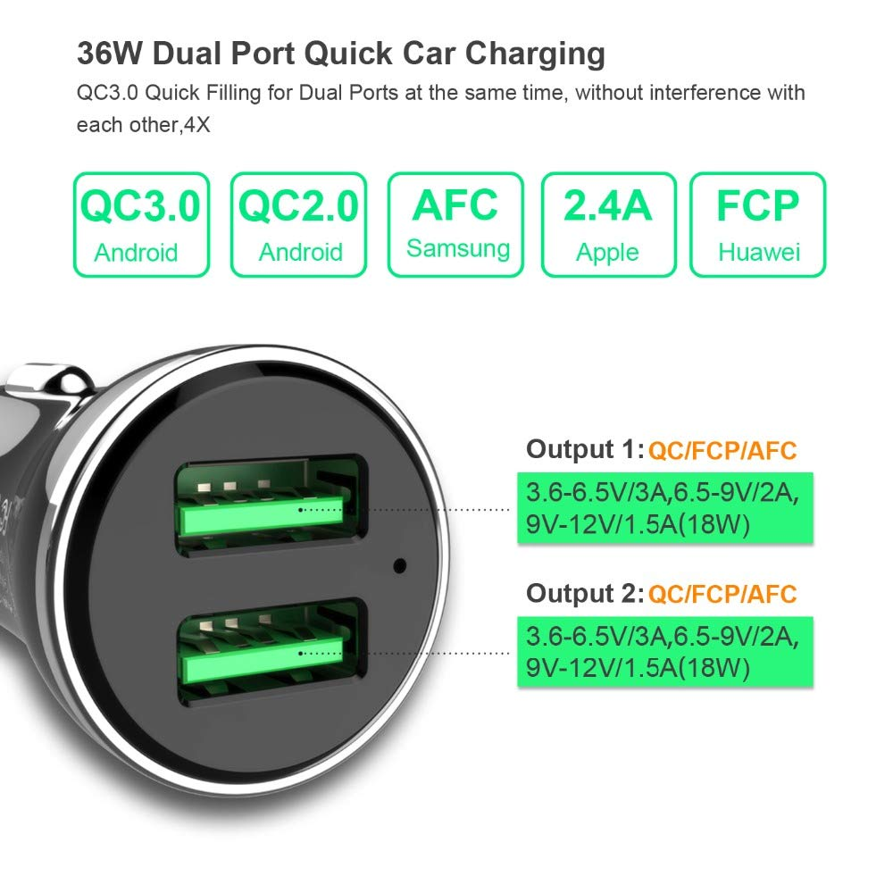 WOTOBEUS Dual Fast Car Phone Laptop Charger Adapter QC3.0 18W 2Port Quick Charge for iPhone SE//11//X//8//7//iPad//Samsung Galaxy Note9 S10 S9 S8 A9 A8 A7//Pixel3 4//OnePlus 7 8 and More USB Car Charger 36W