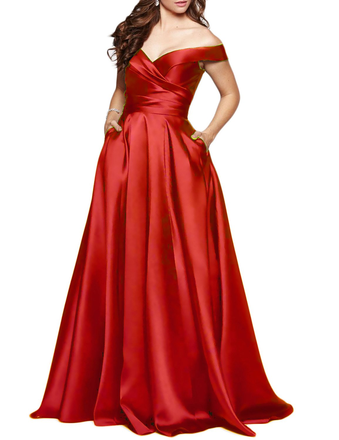 BEAUTBRIDE Women's Off Shoulder Long Prom Dress Evening Gown with Pocket Red 22W