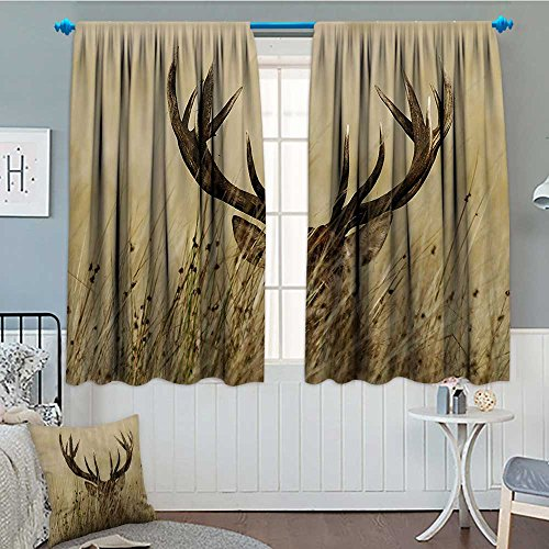 - SeptSonne-Home Antler Decor Blackout Window Curtain Whitetail Deer Fawn in Wilderness Stag Countryside Rural Hunting Theme Customized Curtains 52