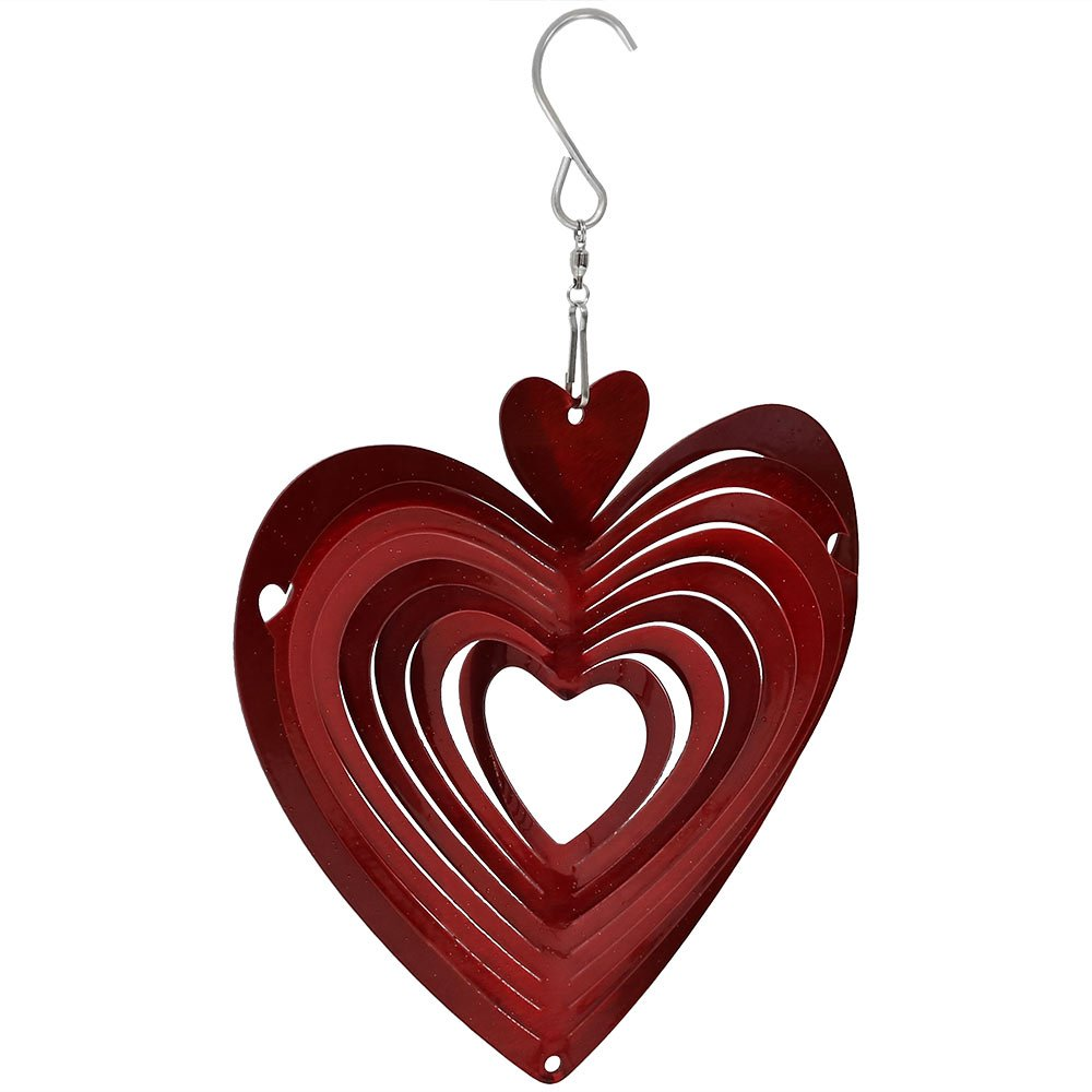 Sunnydaze Whirligig Wind Spinner with Hanging Hook, Metal 3D Heart, 6 Inch - For Outdoor Garden, Yard, and Patio