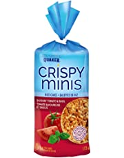 Quaker Crispy Minis Savoury Tomato and Basil Flavour Large Rice Cakes (Pack of 12)