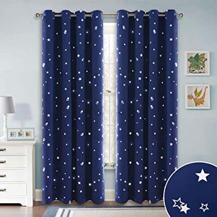 Amazon Com Ryb Home Kids Blackout Curtains With Silver Star