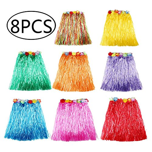 "8 Pack Multicolor Hawaiian Luau Hula Skirts, Plastic Elastic Dancer Grass with Faux Flowers Waistband, Birthday Costume Party Decorations Favors Supplies – Length 15.7"" (Photo Booth Strip Costume)"