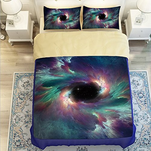 (LELVA Galaxy Quilt Cover Galaxy Duvet Cover Galaxy Sheets Space Sheets Outer Space Bedding Set Galactic Cosmic Bedding Twin Full Queen Size (4, Twin))