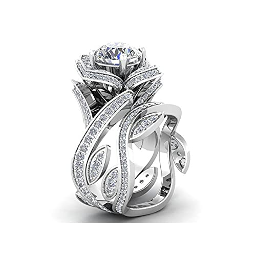 Mejor compromiso anillos de boda en 3,60 ct blanco circonitas cúbicas corte redondo cristal